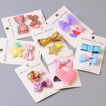 2 Pcs/set 2017 New Cute Kids cloth full wrapped flowers Bowknot hair clips Lace barrette hairpins Hair Accessories headwear T6