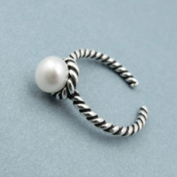 925 Sterling Silver Jewelry Retro Natural Pearl Open Rings for Women (Buy 1 Get 1 Free)