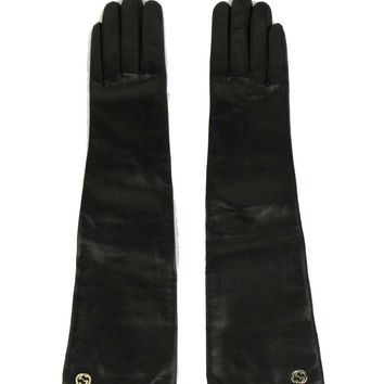 Gucci Women's Black Long Leather Riding Gloves 331843