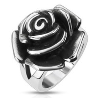 Steel Rose - FINAL SALE Rose Design Cast Stunning Stainless Steel Comfort-Fit Ring