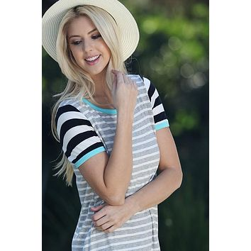 Striped Sleeve Top - Mint