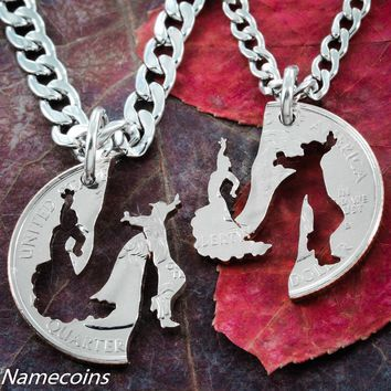 Flamenco Dancing Necklaces, His and Hers jewelry by Namecoins