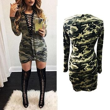 Fashion Women clothes lace up bandage long sleeve bodycon camouflage dress evening party cotton camo club Dresses one pieces