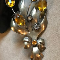 JOLLE signed Sterling Silver Yellow Amber Rhinestone Floral Bouquet Unisex Lapel Vintage Pin Brooch