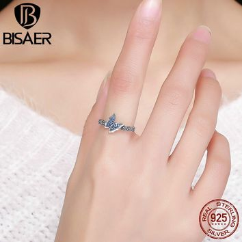 Authentic 100% 925 Sterling Silver Blue CZ, Lovely Flying Insect The Butterfly Finger Ring Women Fine Jewelry Wedding Gift