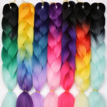 CUPUP9G MISS WIG Ombre Kanekalon Jumbo Braids Synthetic Braiding Hair 60Color Available 100g 24Inch Hair Extension Pink  Blue Green 1pce