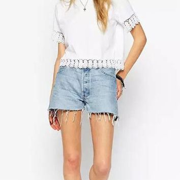 Women's Summer T-Shirt - Eyelet Lace Trim / White