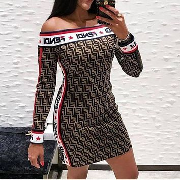 FENDI Fashionable Women Sexy Jacquard Off Shoulder Knit Long Sleeve Dress