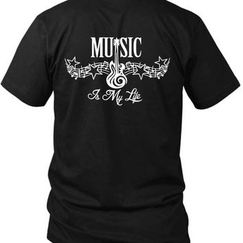 Music Is My Life Tribal Tattoo 2 Sided Black Mens T Shirt