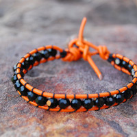 Orange and Black Game Day Wrapped Leather Bracelet, Oklahoma State, Swarovski Crystals in Jet, Halloween Bracelet