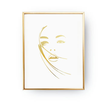 Alluring Look Print, Fashion Poster, Real Gold Foil Print, Makeup Art, Beauty Print, Girl Room Decor, Home Decor, Gift For Her,Bedroom Decor