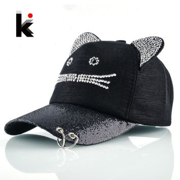4fbd11d7b4e35 Girls Flashing Rhinestone Baseball Cap With Cute Cat Ears Snapback Hip Hop  Hats For Women Drake
