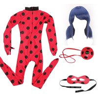 Cool Kids Adult Fantasia Spandex Ladybug Miraculous Cosplay Costume Marinette Bag Eye Mask Wig Girls Lady Bug Halloween CostumesAT_93_12
