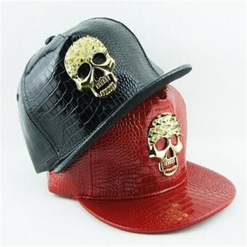 European and American popular skull diamond paste Ms. male leather baseball cap flat brimmed hat fashion outdoor hip-hop hat