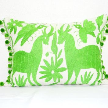 Otomi Pillow Cover, Bright green Mexican Embroidered Cushion Cover, Bohemian Decor