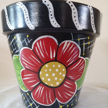 Clay pot, hand painted, flower pot, teacher gift, garden decor, home decor,classroom decor, back to school, gift, hand painted pot
