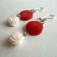 Jewelry, Coral And  White Rose Earrings- Bridal Earrings - Feminine Gemstone - Birthday Gift
