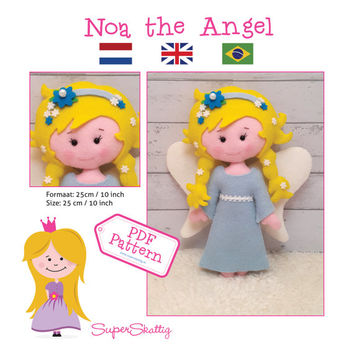 PDF Pattern Noa the Angel, felt pattern doll by Superskattig