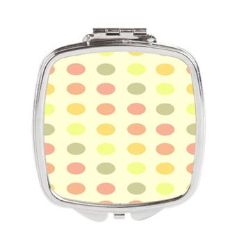 Polka Dot Compact Mirror - FREE shipping to USA pocket mirrors square silver metal eye catching gift ideas purse accessories cute trinkets