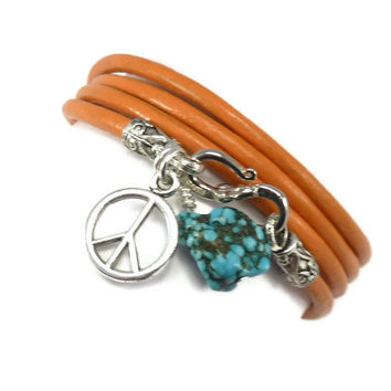 Orange Leather Wrap Bracelet with Turquoise by charmeddesign1012