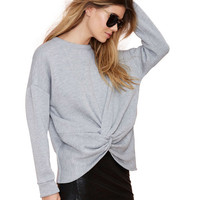 Grey Raglan Sleeves Sweatshirt with Twisted Buttom Hem