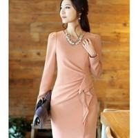Long Sleeve Clothing Women Autumn New Style Korean Style OL Fashion Slim Pink Cotton Dress M/L/XL @WH0427p $22.97 only in eFexcity.com.