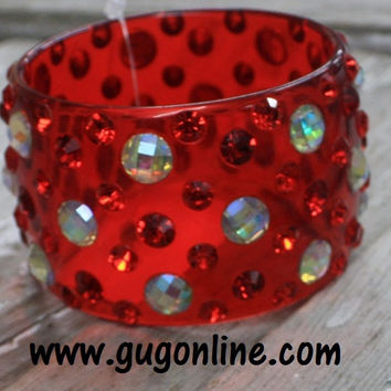 SALE Red and AB Crystals on Red Bangle