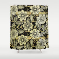 Floral Ink Shower Curtain by Louise Machado