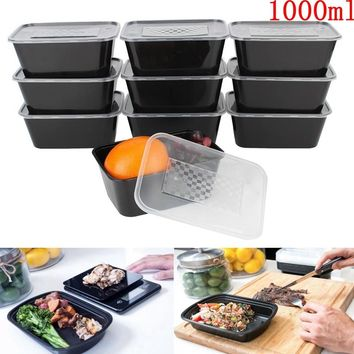 Microwavable 1000ml Plastic Food Meal Prep Containers 10Pcs Lids Lunchbox Home Office Dinnerware Fruits Storage Box Holder