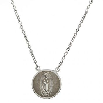 Stainless Steel Fancy Necklace, Guadalupe and Rolo Design, Steel Tone