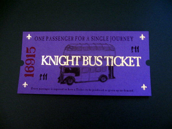 Harry Potter Knight Bus Ticket