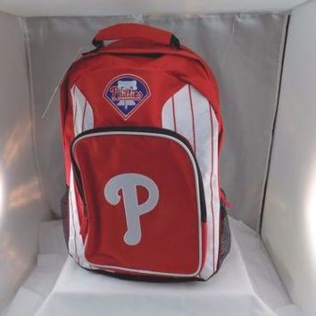 NEW PHILADELPHIA PHILLIES RED STITCHED LOGO BACKPACK BOOK BAG MLB ST41