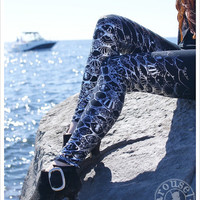 SILVER Mermaid Leggings - Metallic Womens Legging - Silver BLACK - Steampunk Tights - SMALL
