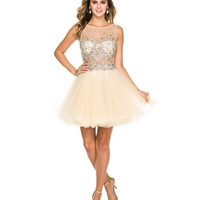Gold Jeweled Illusion Bodice Dress 2015 Homecoming Dresses