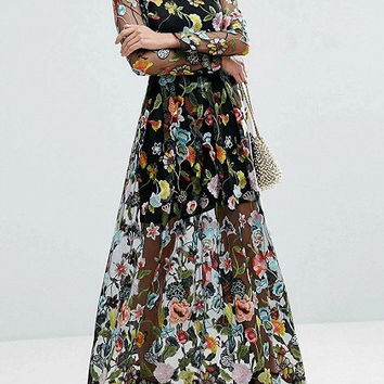 Black Long Sleeve Floral Embroidered Sheer Mesh Maxi Dress