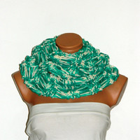Knitted infinity Scarf. Block Infinity Scarf. Loop Scarf, Circle Scarf, Neck Warmer. Water Green,Cream Crochet Infinity