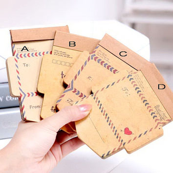 Retro vintage envelope memo pad antique style mini envelope ancient pattern message card diy special mail thank you card Scrapbooking T70