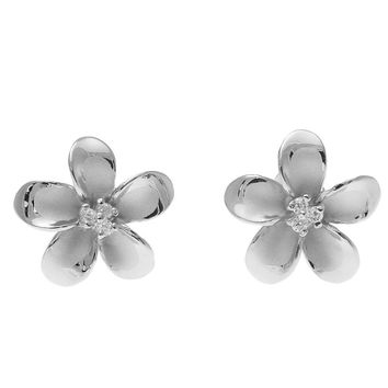 925 Sterling Silver Rhodium Hawaiian Plumeria Flower 3 CZ Stud Post Earrings