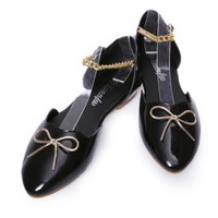 Fashion Hollow Out Pure Color Chain Flat Black