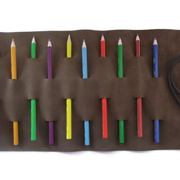 Leather Pencil Case- Pencil Holder- Roll Up Pencil Organizer- Brown