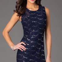 Short Sleeveless Lace Dress
