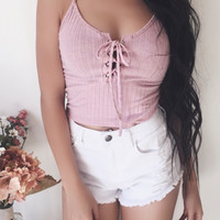 Kylie Lace Up Ribbed Tank (BLUSH)