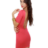 Cute Coral Dress - Short Sleeve Dress - Pink Dress - $33.00