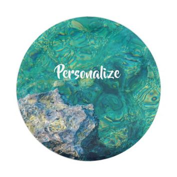 Turquoise ocean water paper plate