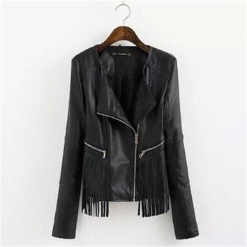 *online exclusive* faux leather fringe jacket