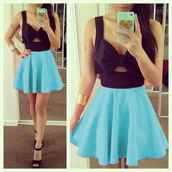 Light Blue Patchwork Backless Pleated Bow Cut Out Mini Dress