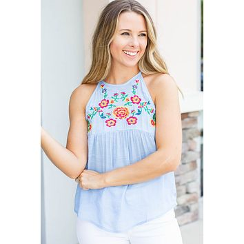 Without You Embroidered Halter - Blue