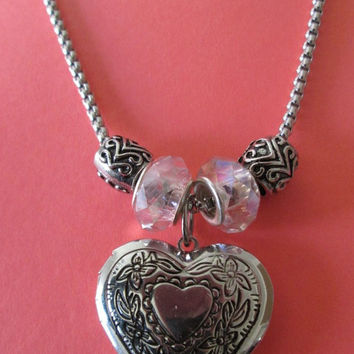 24 inch Nickel free silver chain, Large heart locket charm, Photo locket necklace, European bead necklace, Love, Heart pendant,Romantic gift