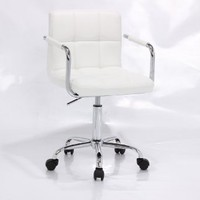 PU Leather Hydraulic Lift Adjustable Height Swivel Office Desk Chair White (1013-5)