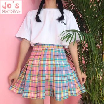 New! Rainbow Plaid Skirt Women Kawaii Harajuku Mini Pleated Skirt Korean Uniform Midi Skirt Cute High Waist Sexy Female Bottoms
